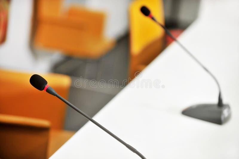 Konferencja Prasowa mikrofony fotografia royalty free