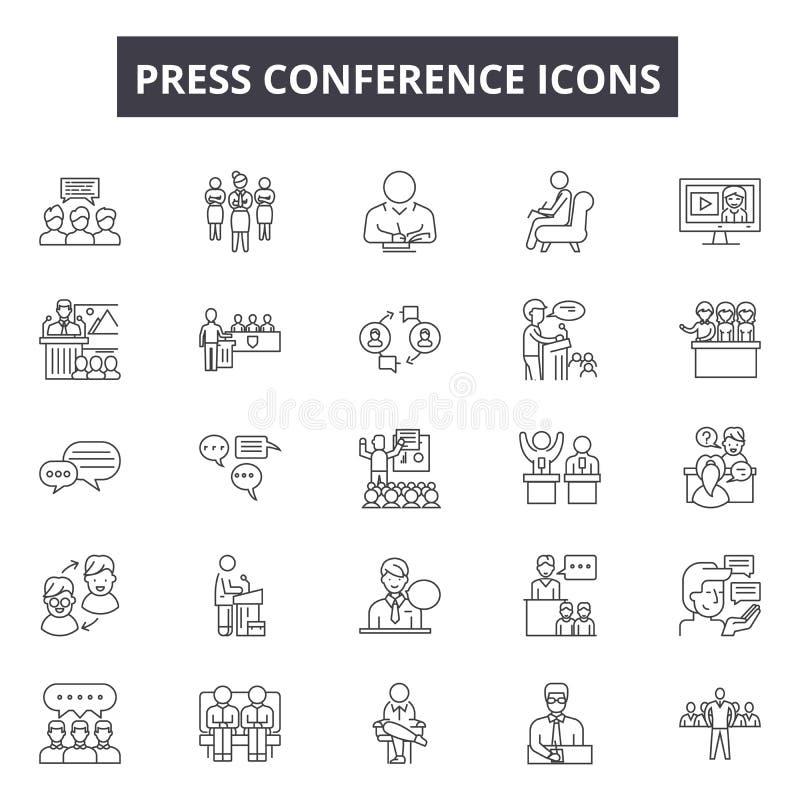 Konferencji prasowych kreskowe ikony, znaki, wektoru set, kontur ilustracji pojęcie royalty ilustracja