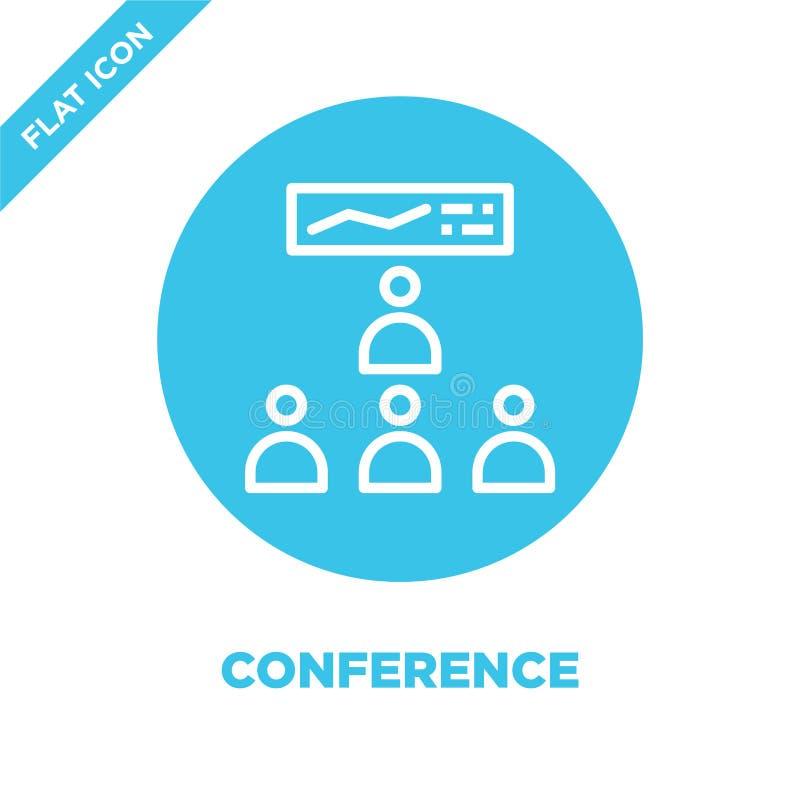 Konferencyjny ikona wektor Cienka kreskowa konferencyjna kontur ikony wektoru ilustracja konferencyjny symbol dla używa na sieci  ilustracja wektor