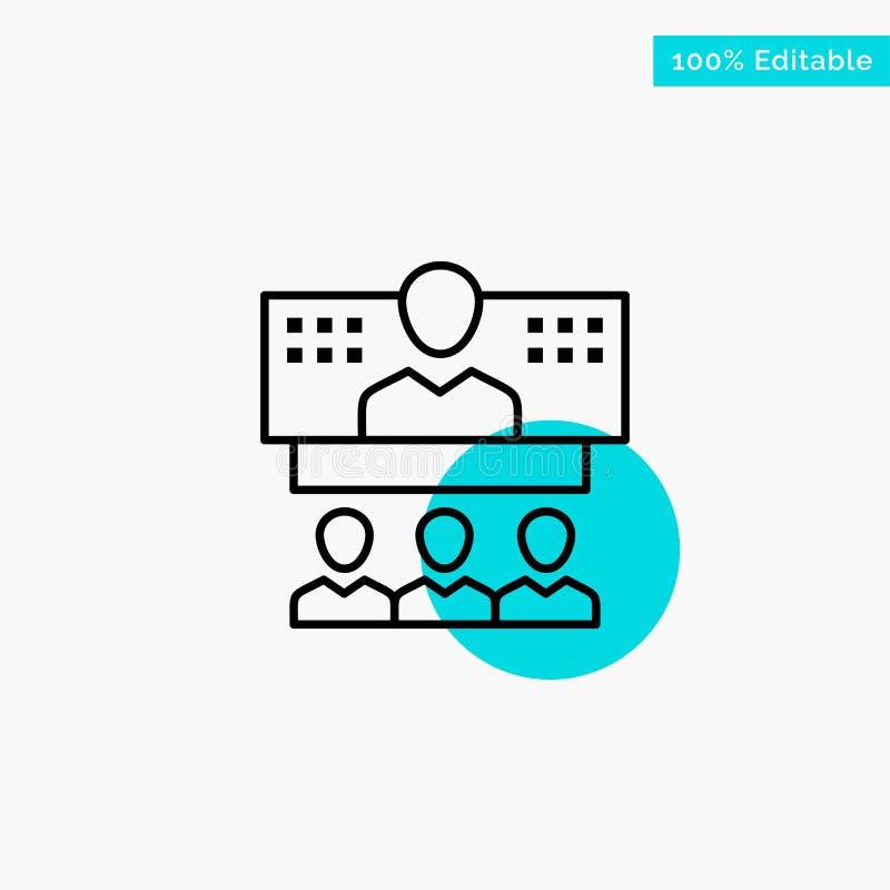 Konferens affär, appell, anslutning, internet, online-symbol för vektor för punkt för turkosviktigcirkel royaltyfri illustrationer