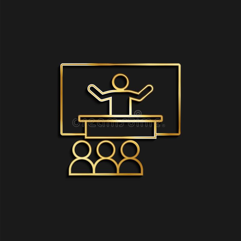Konferens, presentation, seminarieguldikon Vektorbild av gyllene ikon royaltyfri illustrationer