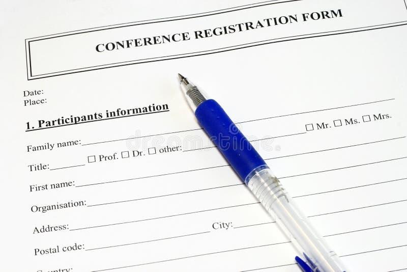 konferensdatalistregistratiion fotografering för bildbyråer