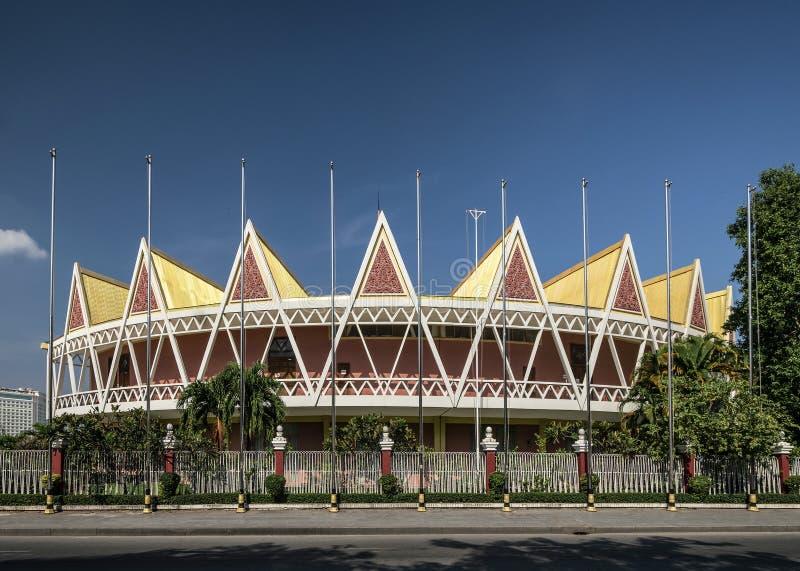 Konferensen Chaktomuk - arkitektur - landmarksbyggnad i Phnom penh Cambodia royaltyfri bild