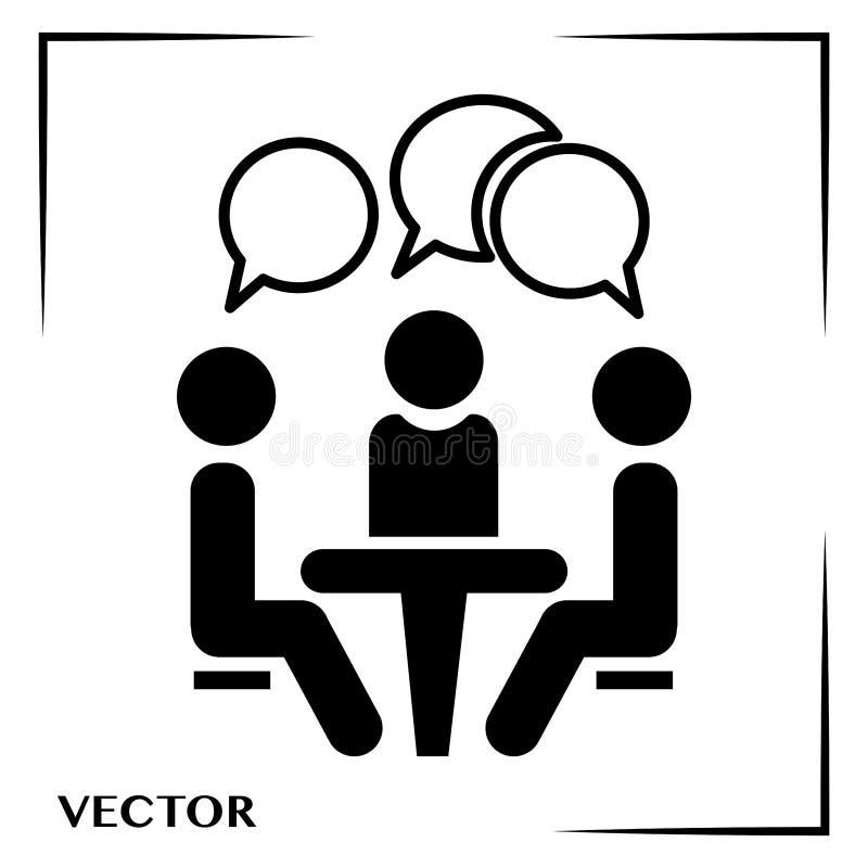 Konferenssymbol Folk som sitter p? tabellen Konferenssymbol Folk som sitter p? tabellen ocks? vektor f?r coreldrawillustration royaltyfri illustrationer