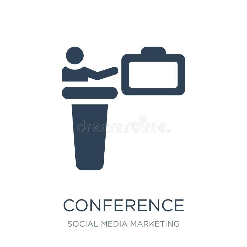 konferenssymbol i moderiktig designstil Konferenssymbol som isoleras på vit bakgrund modern konferensvektorsymbol som är enkel oc stock illustrationer
