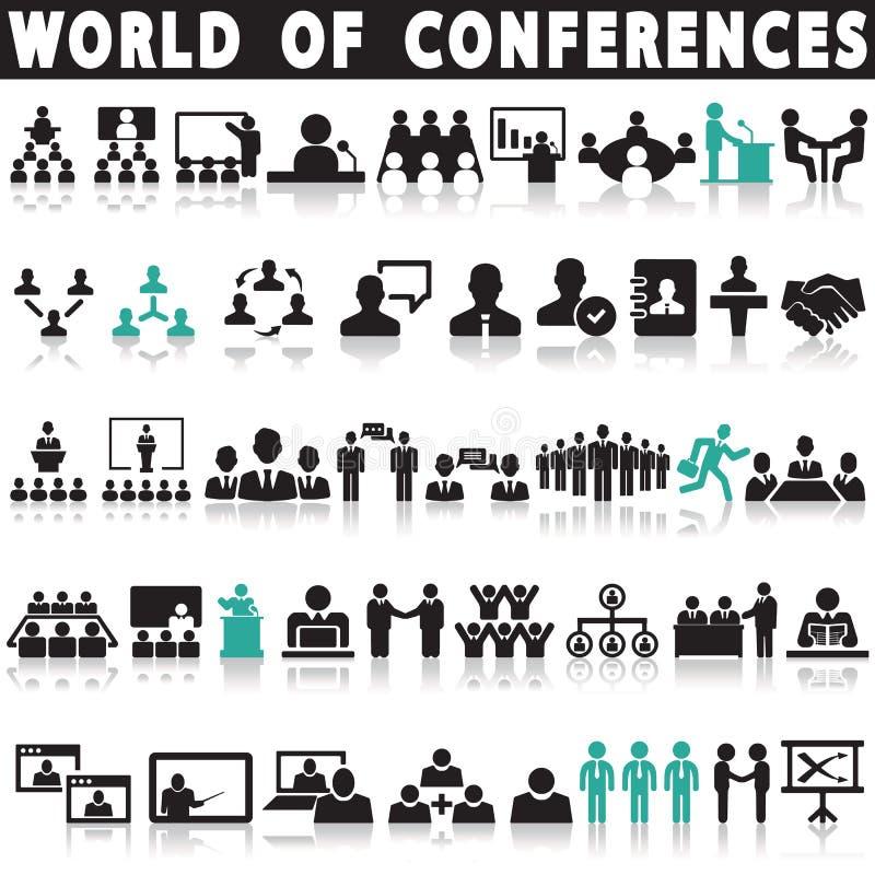 Konferenssymbolsuppsättning royaltyfri illustrationer
