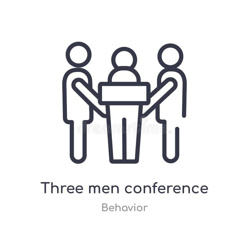 Konferenz-Entwurfsikone mit drei Männern lokalisierte Linie Vektorillustration von der Verhaltensammlung editable Männer des Haar lizenzfreie abbildung