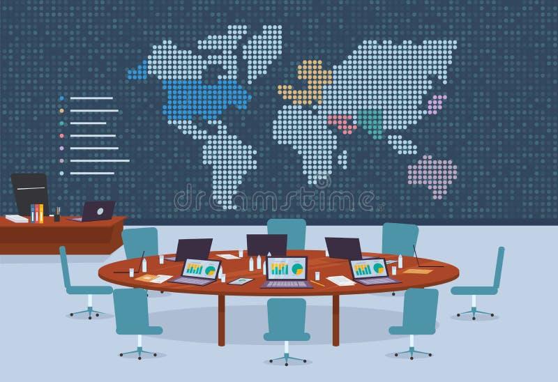 Konferenzsaal im Geschäftszentrum mit punktiertem Weltkartehintergrund lizenzfreie abbildung