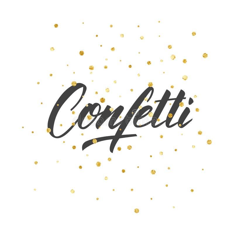 konfettiar Guld- bakgrund för prickfoliekonfettier stock illustrationer