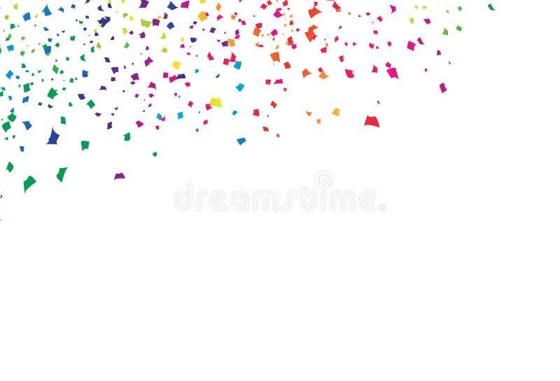 Konfettier att falla för papper sprider den ljusa färgrika spektrumregnbågen, vektor för bakgrund för händelse för festivalberömp royaltyfri illustrationer