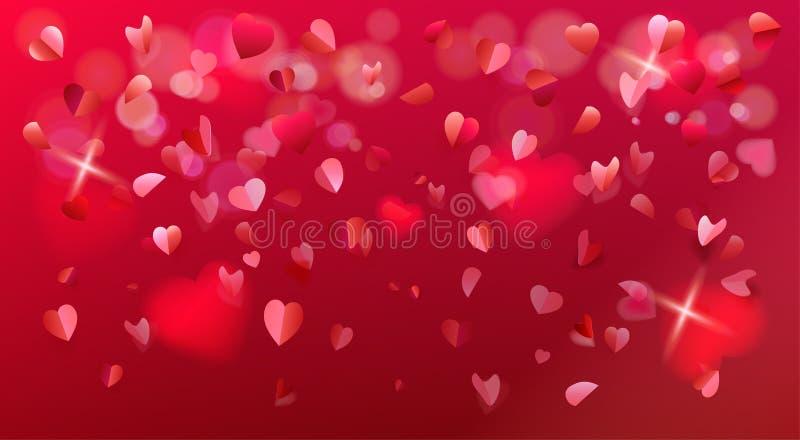 Konfettier för kronblad för hjärtor för valentindagromans undertecknar rosa royaltyfri illustrationer