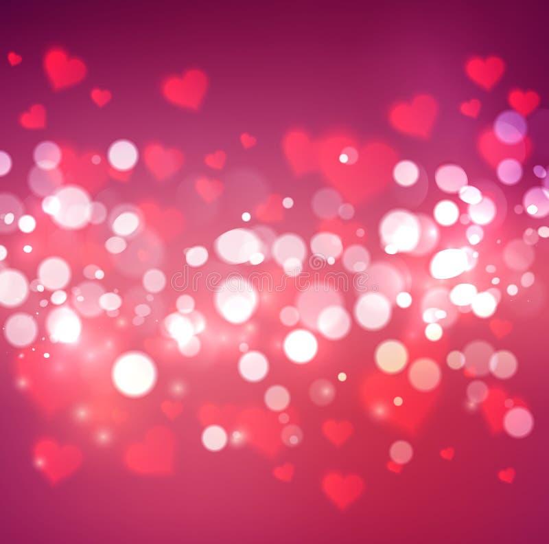 Konfettier som faller från röda hjärtor vektor illustrationer
