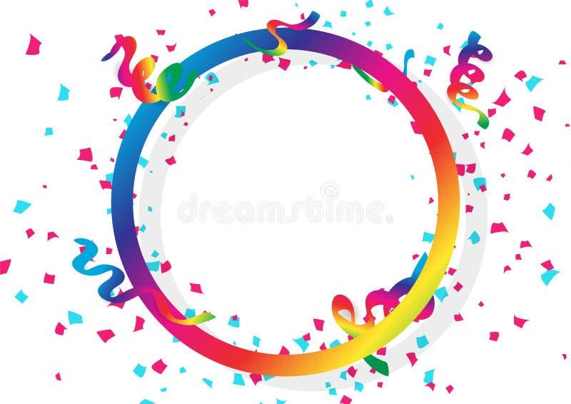 Konfettifeier, Bänder und Papierstreuung, die mit Kreisringspektrum-Regenbogenrahmen mit für Feiertagskonzept an fällt stock abbildung