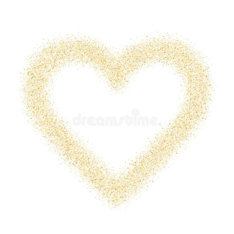 Konfettiherz-Vektorhintergrund des Goldscheinfunkelnstaubes metallischer lizenzfreie abbildung