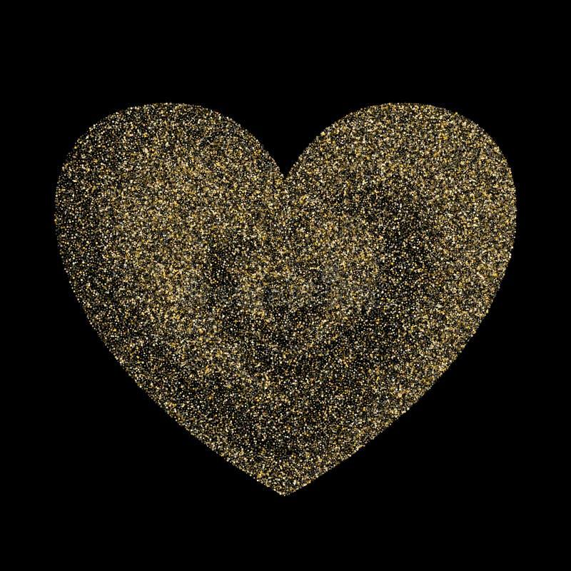 Konfettiherz-Vektorhintergrund des Goldscheinfunkelnstaubes metallischer stock abbildung
