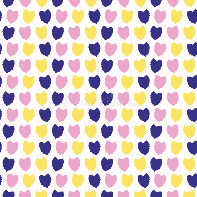 Konfettiherzfallen Nahtloser Hintergrund des Vektormusters Handgezogene strukturierte Art Handgezogene Streifen lieben Herzillust stock abbildung