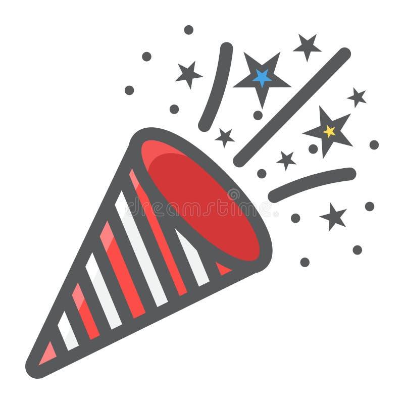 Konfettipopcornapparaten fyllde översiktssymbolen, nytt år stock illustrationer