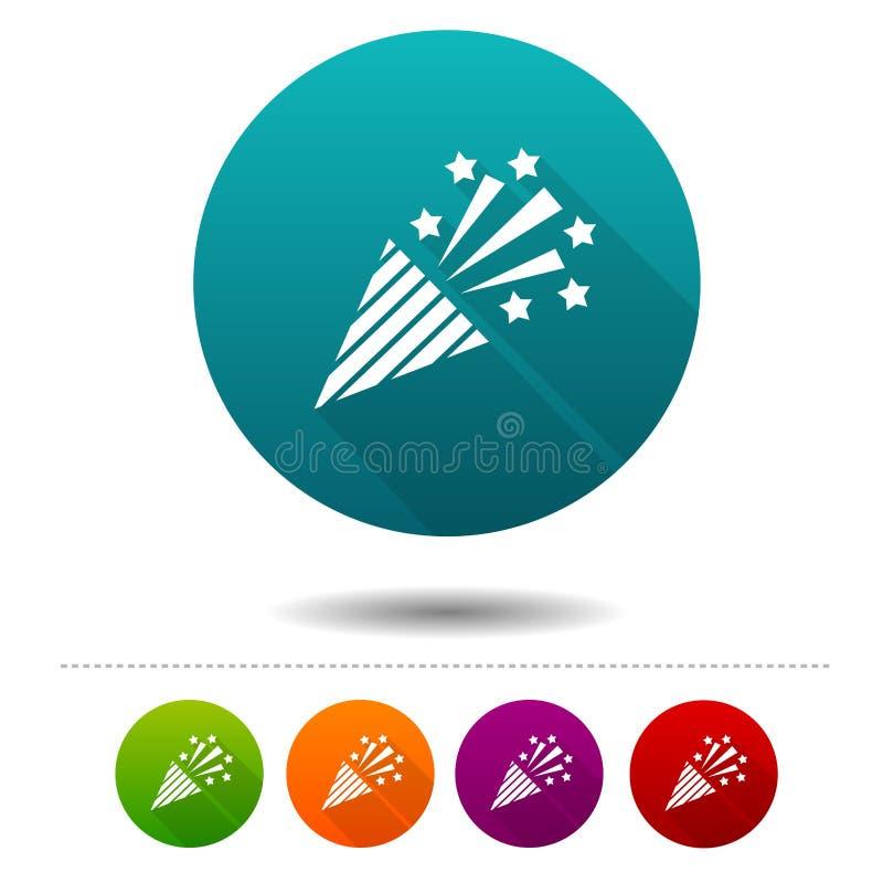 Konfettipopcornapparatsymboler Partitecken Knappar för vektorcirkelrengöringsduk vektor illustrationer