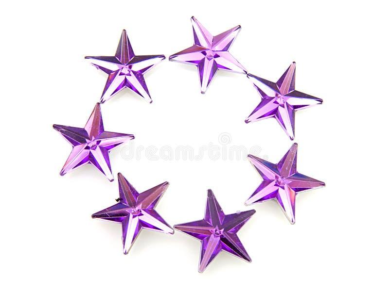konfettipurplestjärnor royaltyfri illustrationer