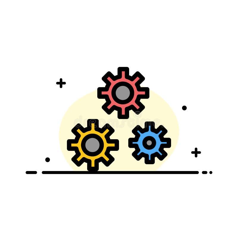Konfiguration, Gänge, Präferenzen, Dienstleistungsunternehmen-flache Linie füllte Ikonen-Vektor-Fahnen-Schablone vektor abbildung