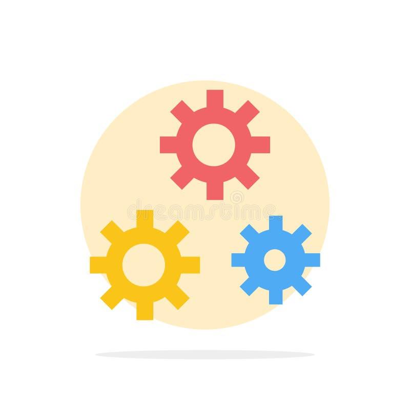 Konfiguration, Gänge, Präferenzen, flache Ikone Farbe Service-des abstrakten Kreis-Hintergrundes lizenzfreie abbildung