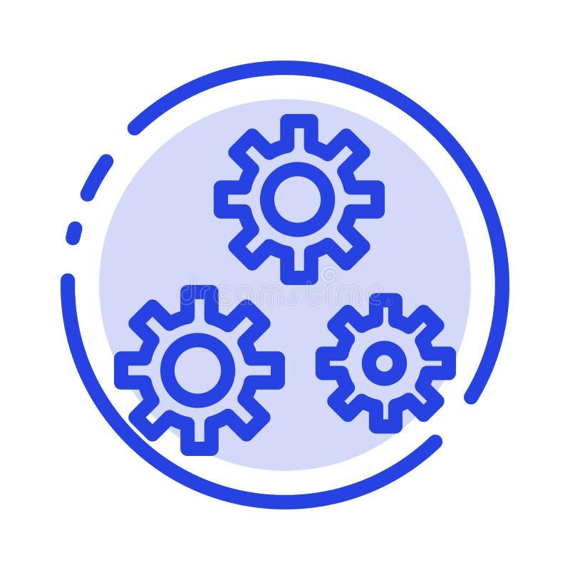 Konfiguration, Gänge, Präferenzen, Linie Ikone der Service-blauen punktierten Linie stock abbildung