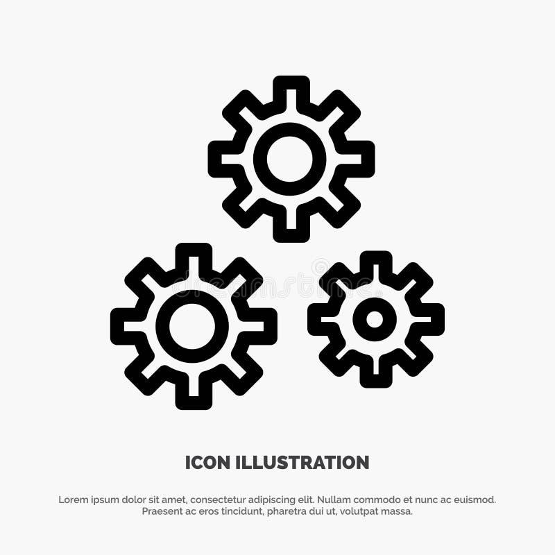 Konfiguration, Gänge, Präferenzen, Nebengleis-Ikonen-Vektor lizenzfreie abbildung