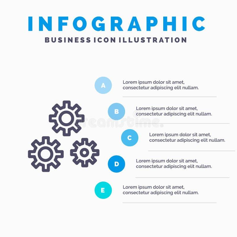 Konfiguration, Gänge, Präferenzen, Nebengleisikone mit Hintergrund infographics Darstellung mit 5 Schritten vektor abbildung