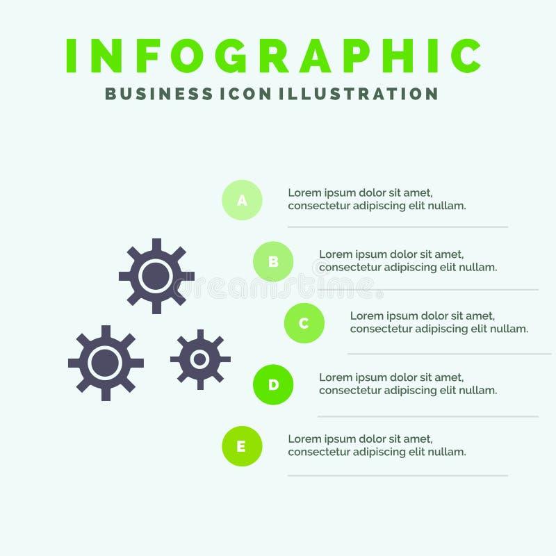 Konfiguration, Gänge, Präferenzen, Schritt-Darstellungs-Hintergrund Service-fester Ikone Infographics 5 stock abbildung