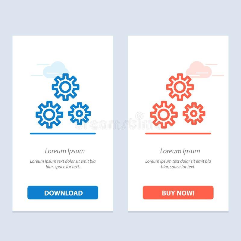 Konfiguration, Gänge, Präferenzen, Service-Blau und rotes Download und Netz Widget-Karten-Schablone jetzt kaufen vektor abbildung