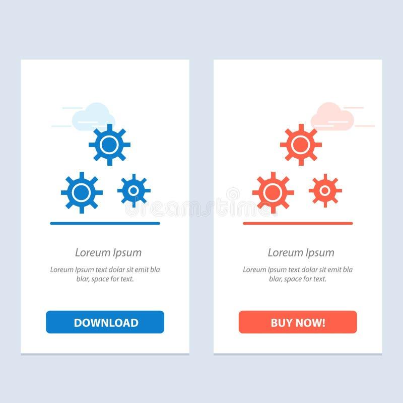 Konfiguration, Gänge, Präferenzen, Service-Blau und rotes Download und Netz Widget-Karten-Schablone jetzt kaufen lizenzfreie abbildung
