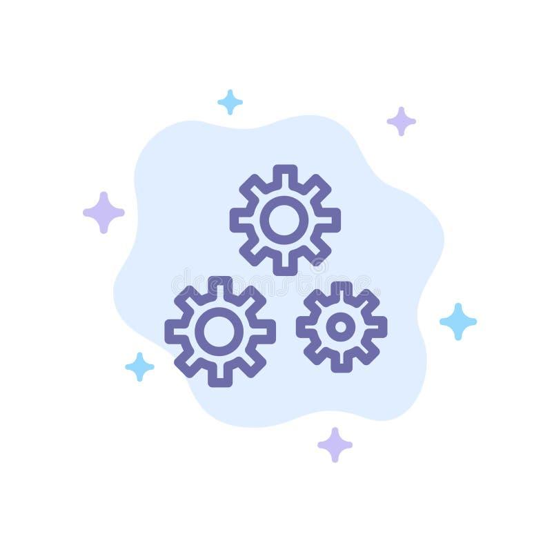 Konfiguration, Gänge, Präferenzen, Service-blaue Ikone auf abstraktem Wolken-Hintergrund stock abbildung