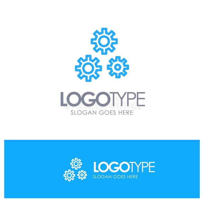 Konfiguration, Gänge, Präferenzen, Service-blauer Entwurf Logo Place für Tagline vektor abbildung