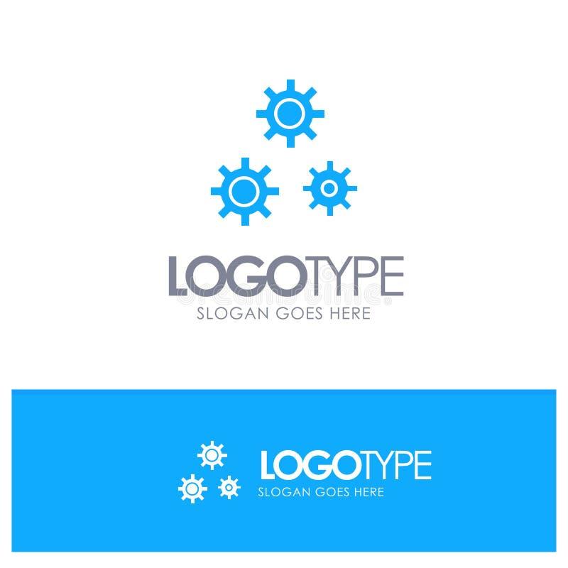 Konfiguration, Gänge, Präferenzen, Service-blaues festes Logo mit Platz für Tagline lizenzfreie abbildung