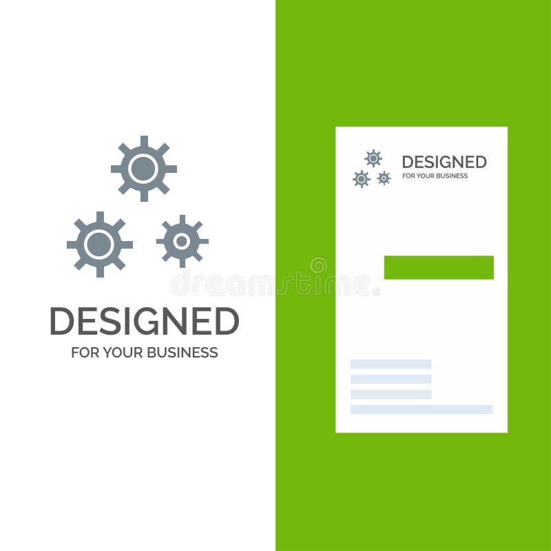 Konfiguration, Gänge, Präferenzen, Service Grey Logo Design und Visitenkarte-Schablone vektor abbildung
