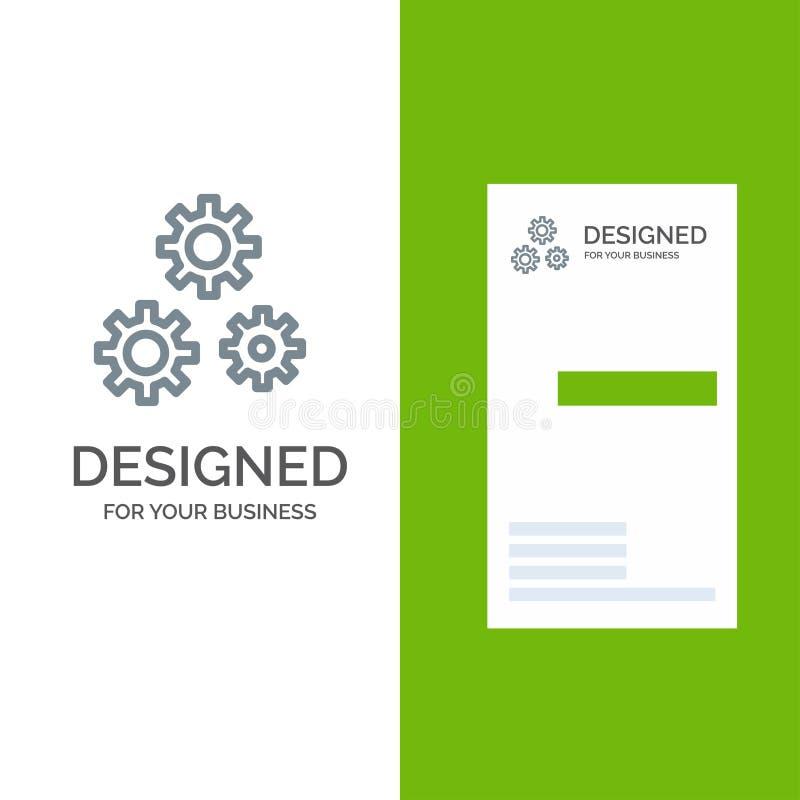 Konfiguration, Gänge, Präferenzen, Service Grey Logo Design und Visitenkarte-Schablone stock abbildung
