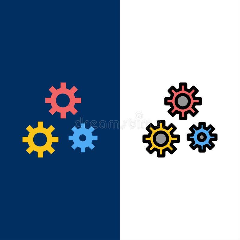 Konfiguration, Gänge, Präferenzen, Service-Ikonen Ebene und Linie gefüllte Ikone stellten Vektor-blauen Hintergrund ein lizenzfreie abbildung