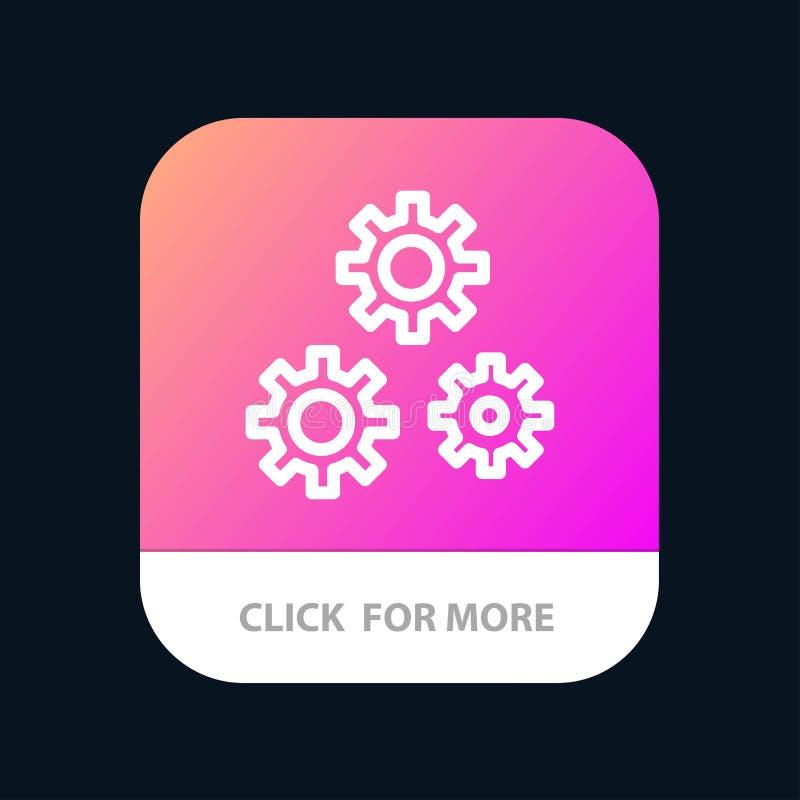 Konfiguration, Gänge, Präferenzen, Service mobiler App-Knopf Android und IOS-Linie Version lizenzfreie abbildung
