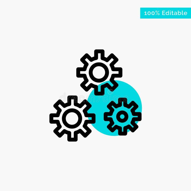 Konfiguration, Gänge, Präferenzen, Service-Türkishöhepunktkreispunkt Vektorikone stock abbildung