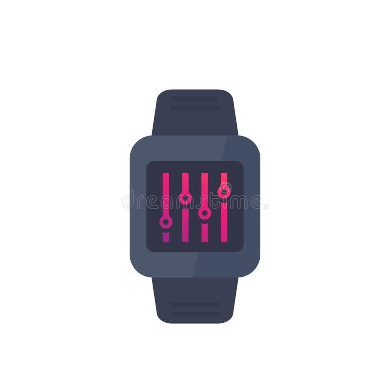 Konfiguration mit intelligenter Uhr, Einstellungssteuerung stock abbildung