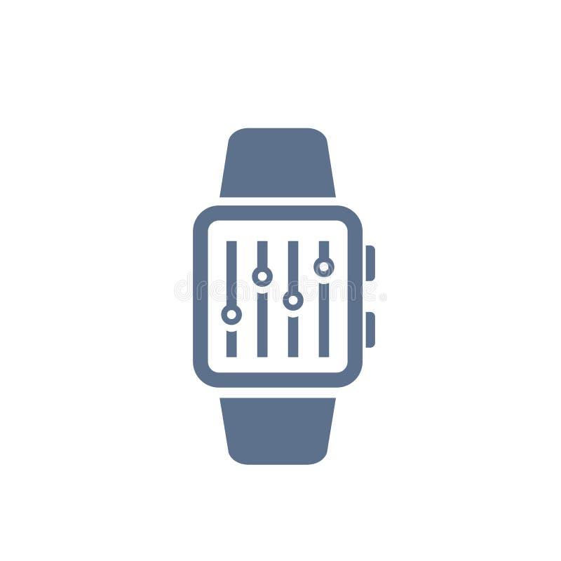 Konfiguration mit intelligenter Uhrvektorikone lizenzfreie abbildung