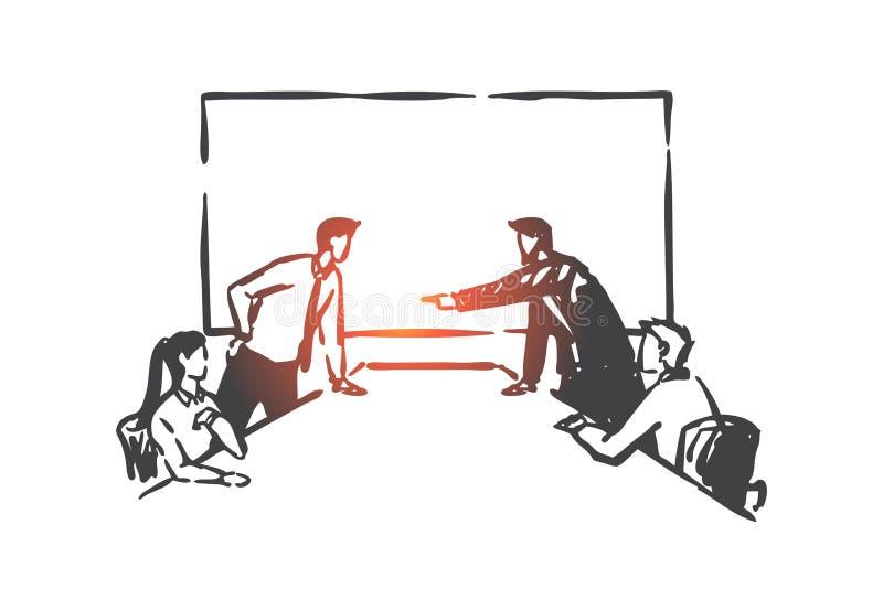 Konflikt biznesowy, szkic koncepcji konkursu zarządu Wektor izolowany wyciągany ręcznie ilustracja wektor