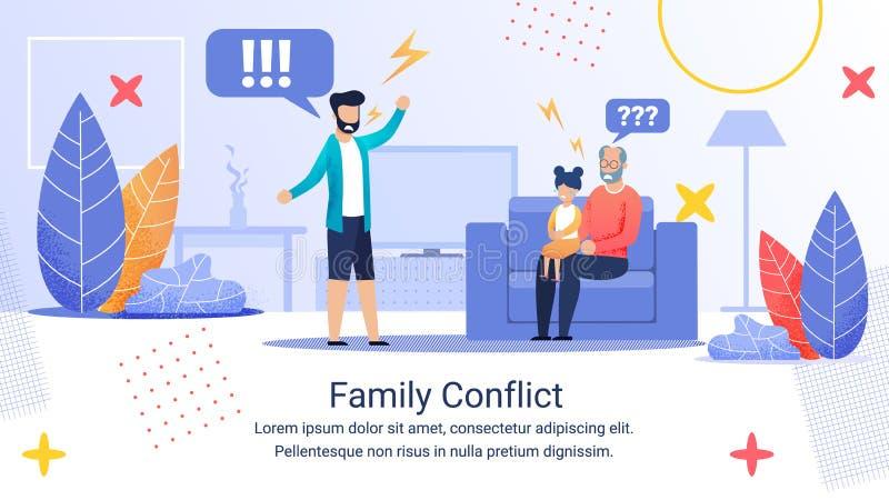 Konflikt i reklamannonsBanner Inscription Family Conflict vektor illustrationer