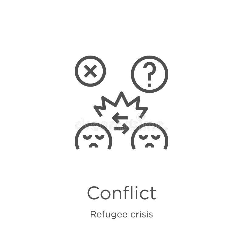 konflikt ikony wektor od uchodźcy kryzysu kolekcji Cienka kreskowa konfliktu konturu ikony wektoru ilustracja Kontur, cienieje li ilustracja wektor