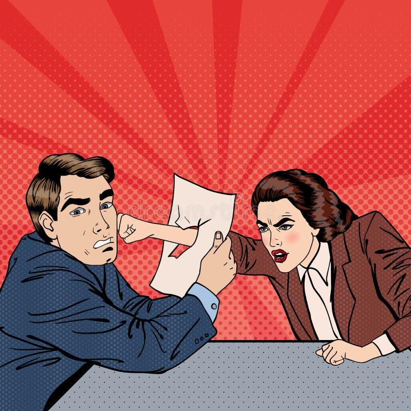 Konflikt mellan affärsmannen och affärskvinnan Motsättning på affärsförhandlingar Popkonst stock illustrationer