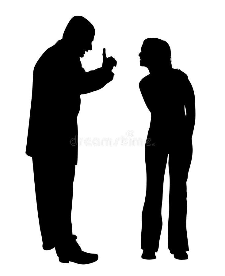 Konflikt mellan fadern och den utmanande tonårs- dottern royaltyfri illustrationer