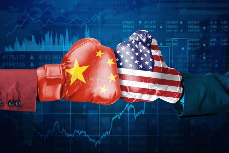 Konflikt mellan Kina och USA stock illustrationer