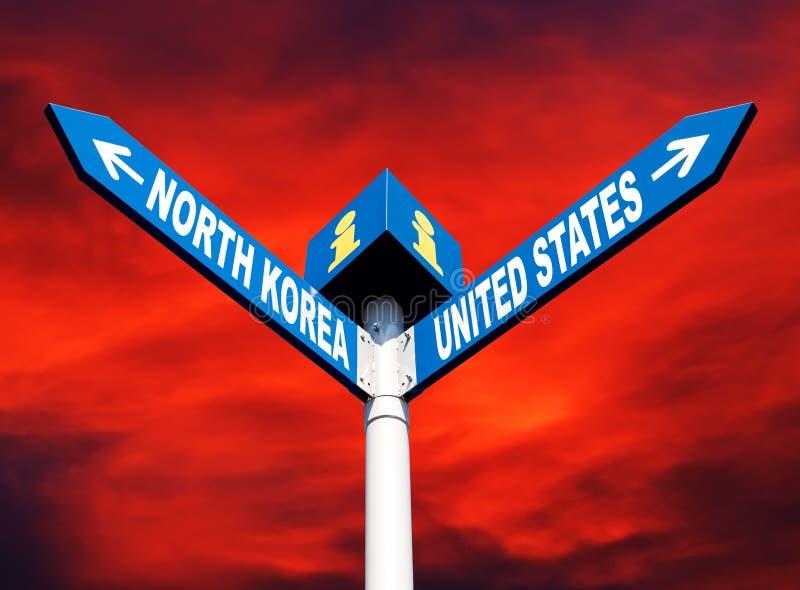 Konflikt między Północnym Korea i Stany Zjednoczone fotografia royalty free