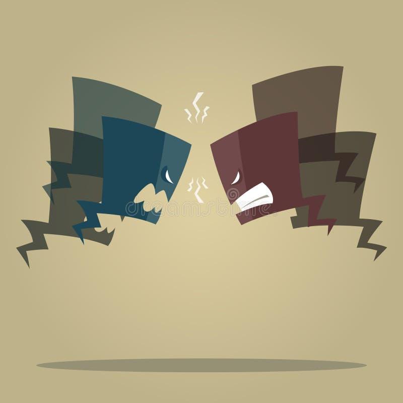 Konflikt mowy bąble ilustracja wektor