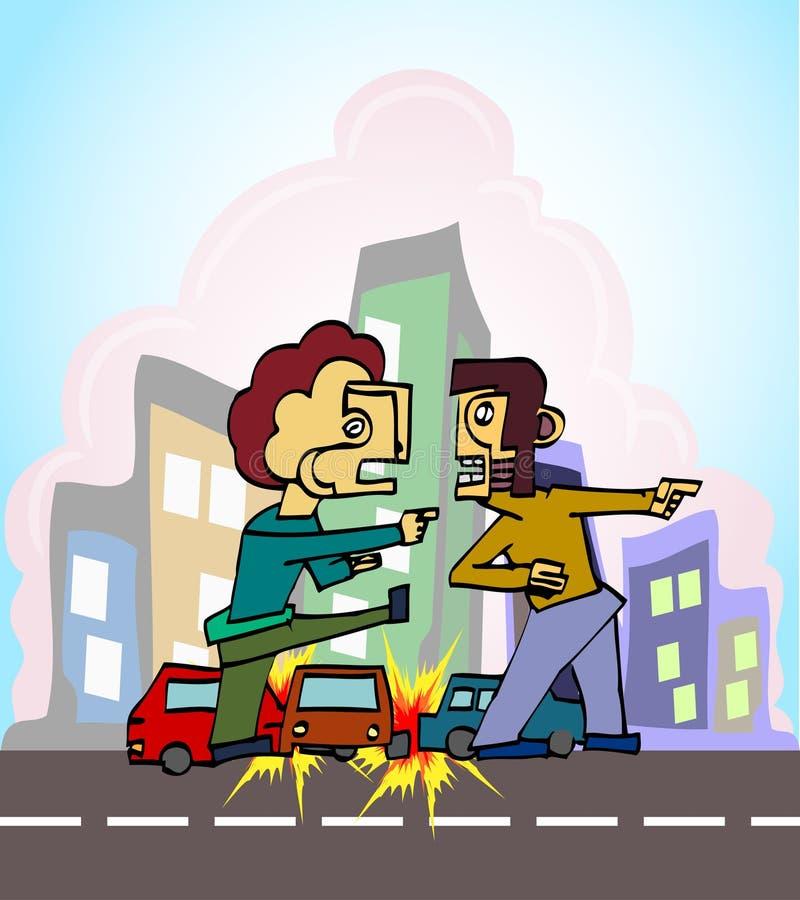 Konflikt nach Autounfall vektor abbildung. Illustration von ...